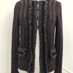 CHANEL Burgundy Cashmere Blend Knit Cardigan